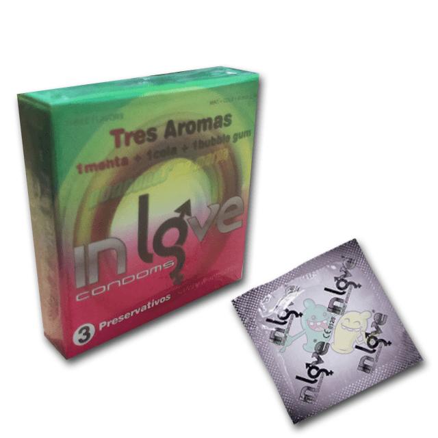 In Love Menta, Platano y Fresa 3 preservativos